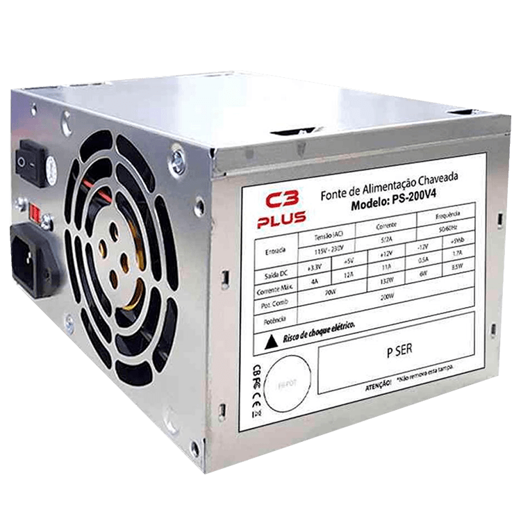 FONTE ATX 200W PS-200V4, C3PLUS