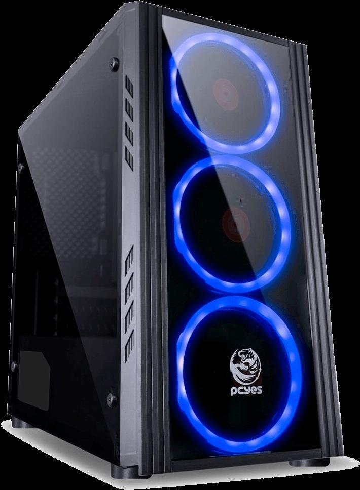 Gabinete Atx Sem Fonte Gamer Saturn Com Led Azul Lateral Acrílico Preto Pcyes - SATPTAZ3FCA