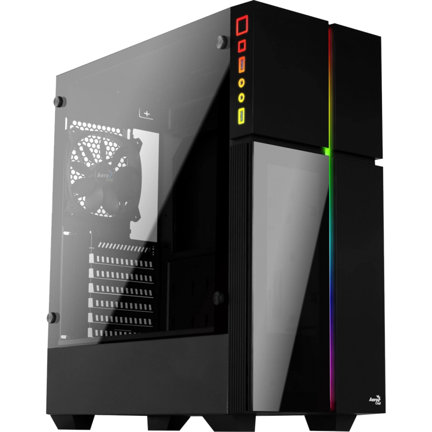 Gabinete Gamer Aerocool Playa, Mid Tower, RGB, 1 Cooler, Lateral e Frontal em Vidro - Playa