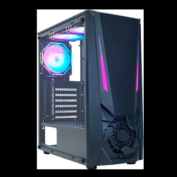 Gabinete Gamer K-Mex CG-01TJ Jaeger I Fita Led RGB Rainbow USB 3.0/2.0 S/ Fonte S/ Cooler - Preto