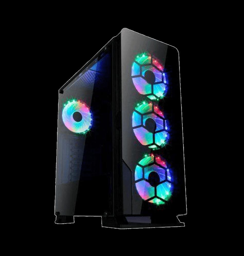 Gabinete Gamer liketec Diamond RGB, Mid Tower, com 3 Fan RGB, Vidro Temperado, Black, S-Fonte