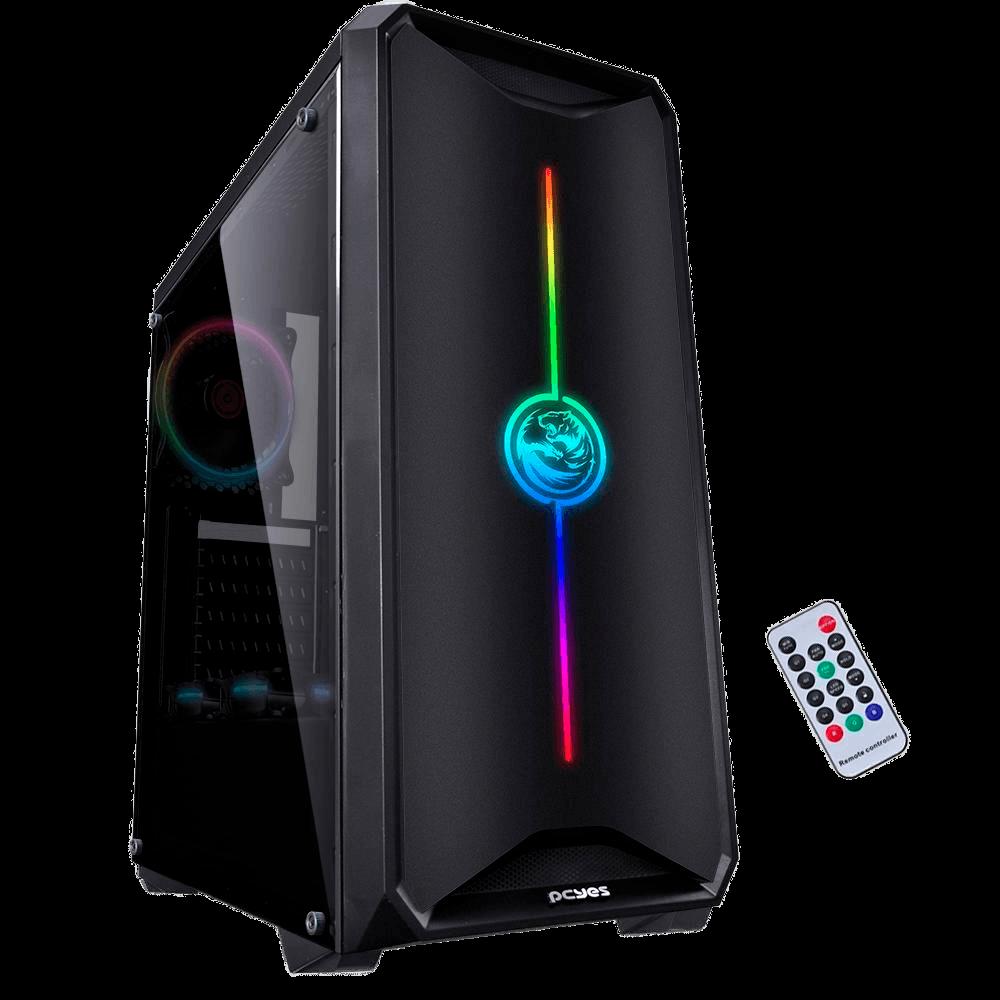 Gabinete Gamer PCYes Nova, Mid Tower, RGB, Lateral em Acrílico, Preto - NOVPTRGB3FCA
