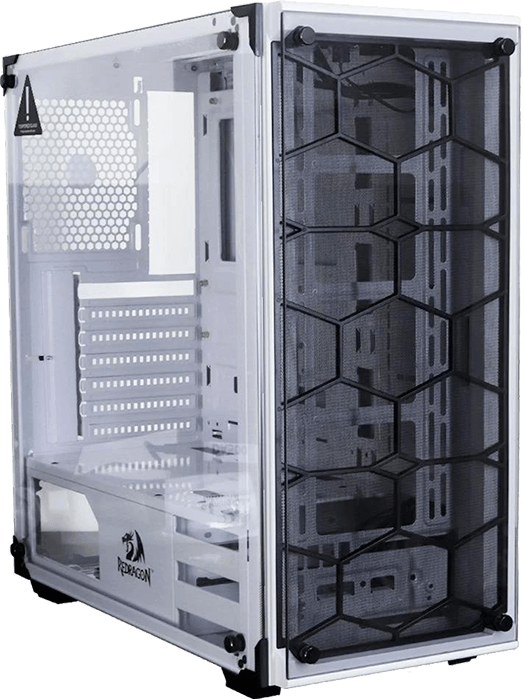 Gabinete Gamer Redragon Wheel Jack White, Mid Tower, RGB, Lateral e Frontal em Vidro, Branco - GC-606WH