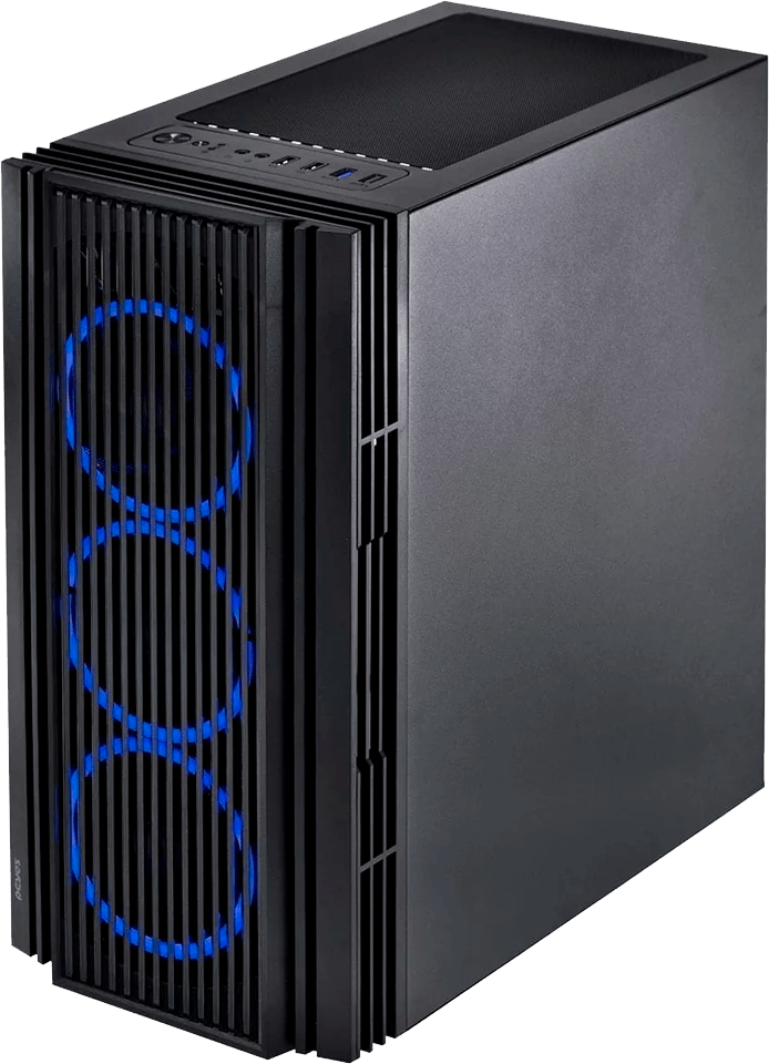 Gabinete Gamer Pcyes Atmos 4 Fans Led Azul Com Video Temperado - ATPTAZ4FCV