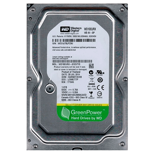 HD Western Digital AV-GP / 1TB / 7200RPM /64MB / SATA III -  WD10EURX