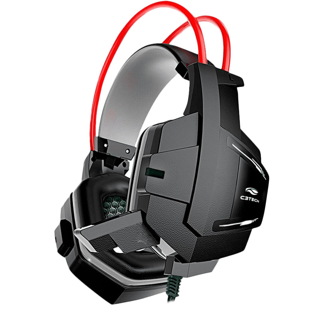 Headset Gamer C3 Tech Sparrow, Preto e Vermelho - PH-G11BK