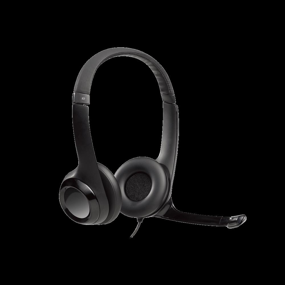 Headset Logitech Áudio Digital em Couro USB Preto - H390