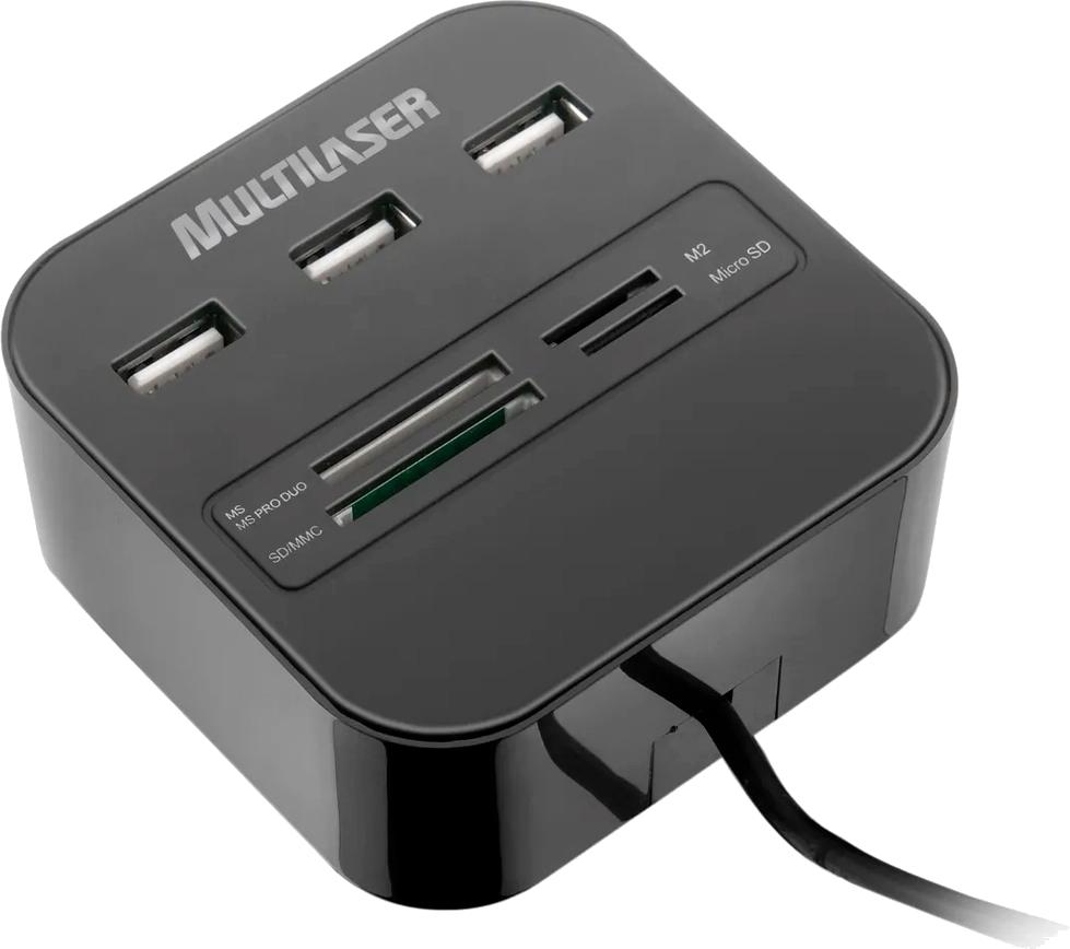 Hub USB com 3 Portas e Leitor De Cartão Universal 2.0 AC121