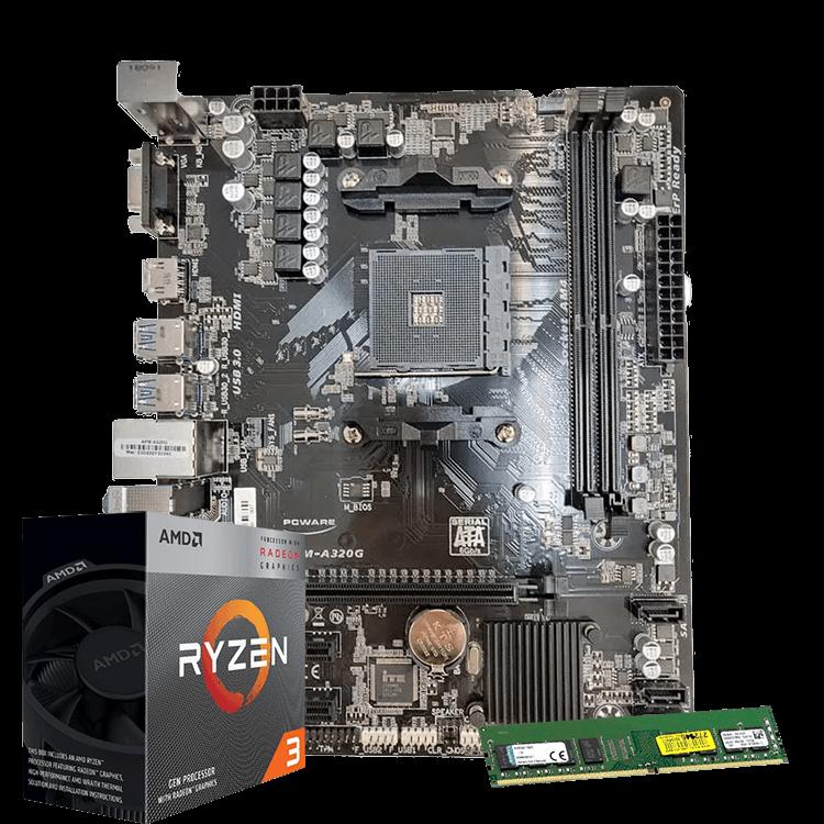 KIT AMD 3200G/A320/8GB DDR4 2400
