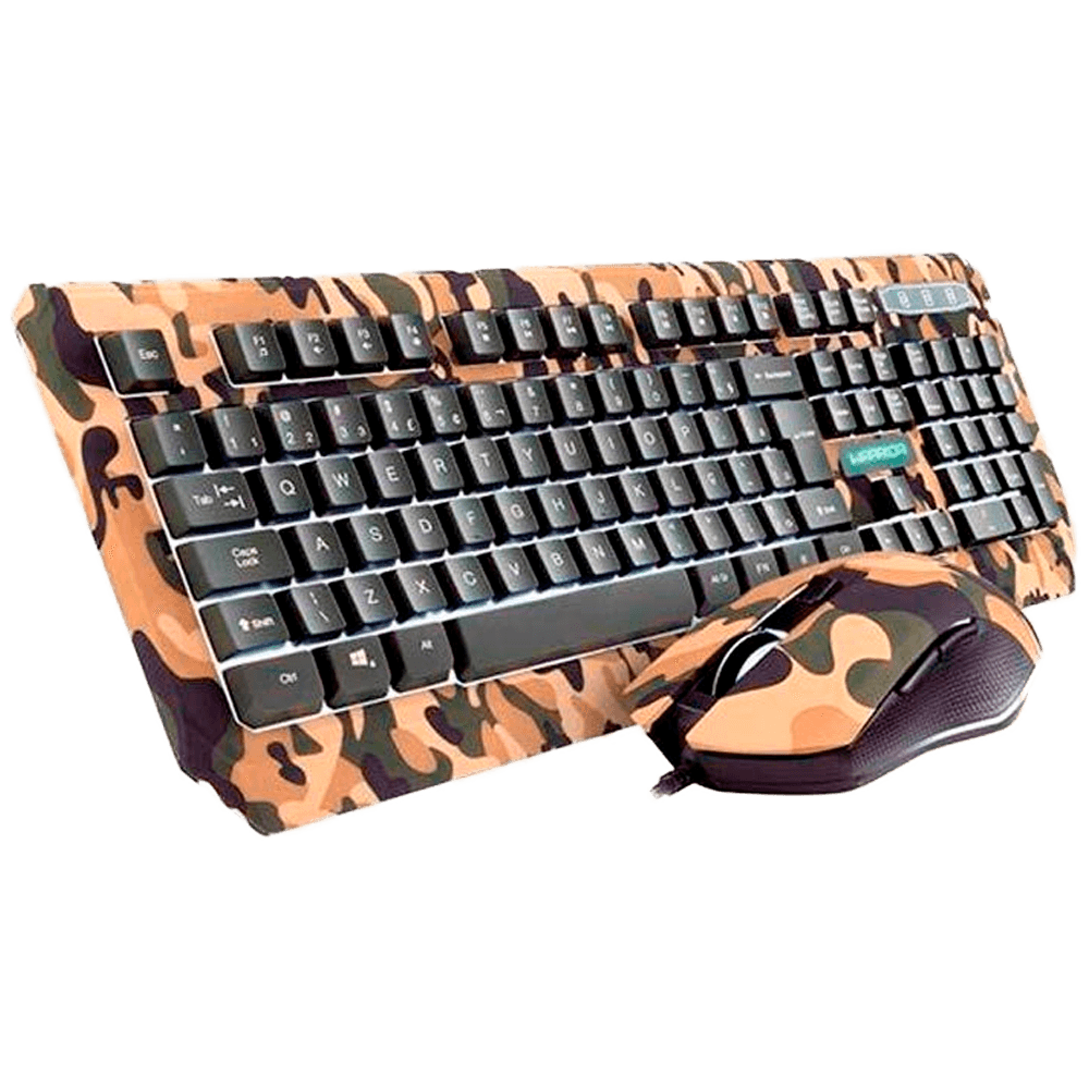 Kit Gamer Warrior Kyler - Teclado, LED Branco, ABNT2 + Mouse, LED, Army - TC249