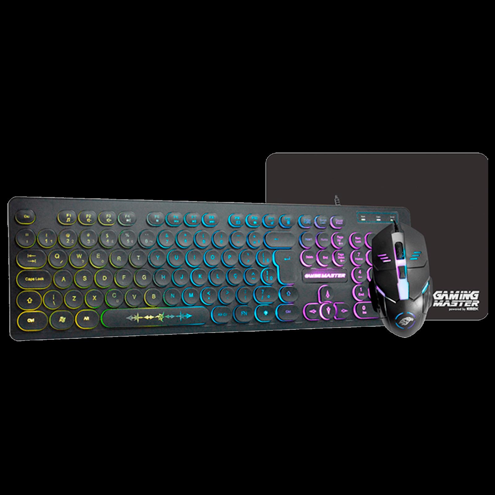 Kit Teclado, Mouse e Mousepar Gamer K-Mex KM7628+MOD734+FX-X2418 PRETO - B3KM7628U01CB1X