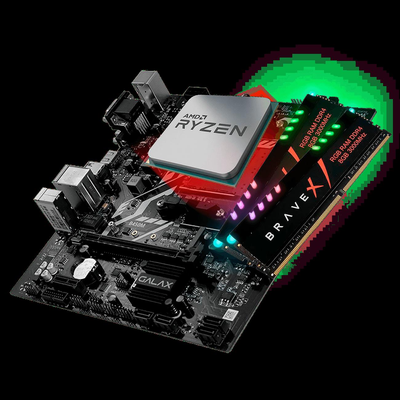Kit Upgrade Galax B450M, Ryzen 5 3600, 16GB DDR4 - 636563