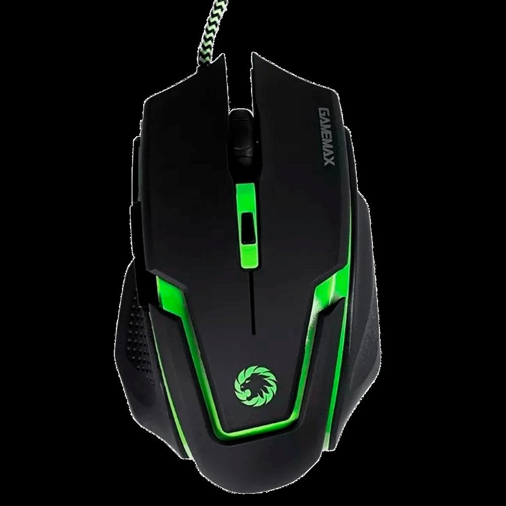 Mouse Gamer 2400DPI, Cabo USB Trançado, Gamemax MG319,  Preto/Verde
