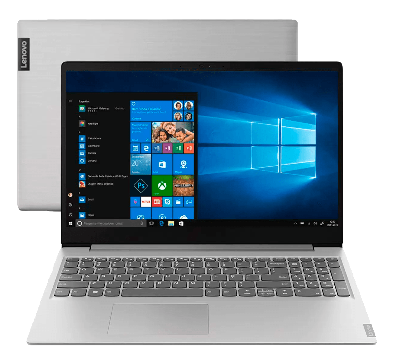 Notebook Lenovo IdeaPad S145-15IGM, Intel Celeron, Dual Core, 4GB, 500GB, Tela 15?, Windows 10 e Prata
