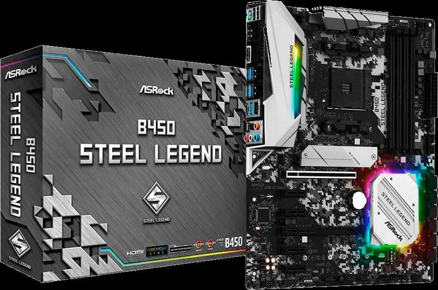 Placa Mãe ASRock B450 Steel Legend, Chipset B450, AMD AM4, ATX, DDR4