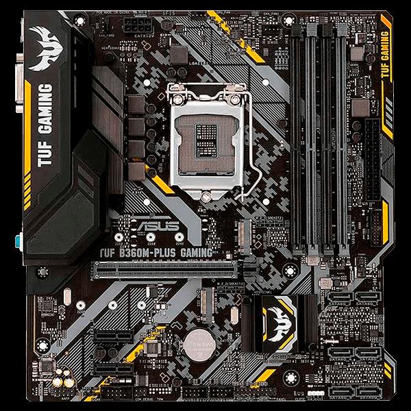 Placa-Mãe ASUS p/ Intel LGA 1151 mATX TUF B360M-PLUS GAMING/BR,4x DDR4,Componente Militar,VGA/HDMI,Rede Intel,M.2,AURA,audio gaming,Optane