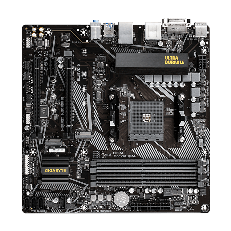 Placa-Mãe Gigabyte B550M DS3H, AMD AM4, Micro ATX, DDR4
