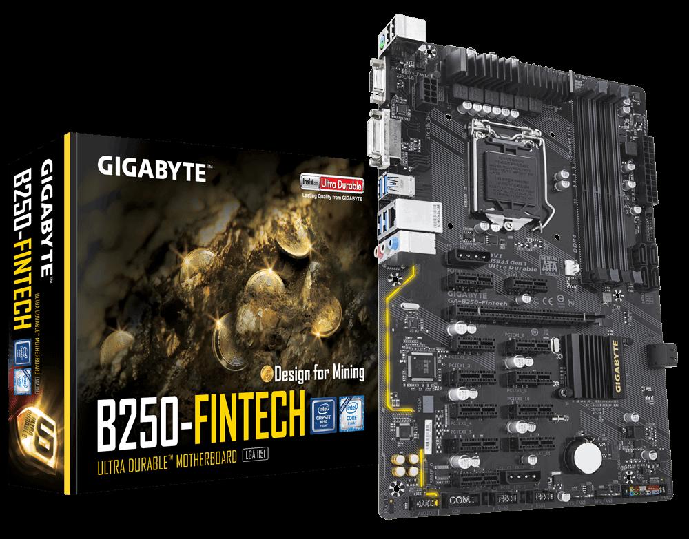 Placa-Mãe Gigabyte GA-B250-FinTech Mining, Intel LGA 1151, ATX, DDR4
