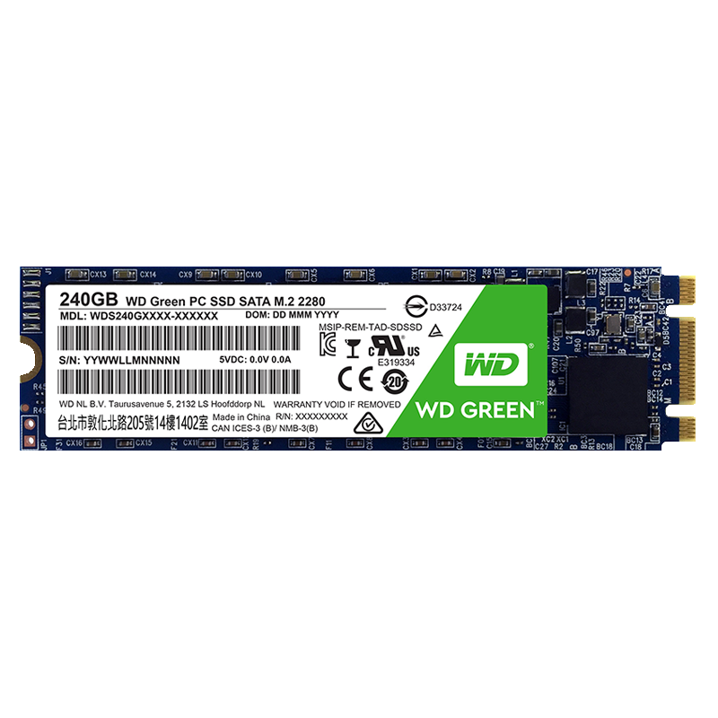 SSD WD Green M.2 2280 240GB Leituras: 545MB/s - WDS240G2G0B