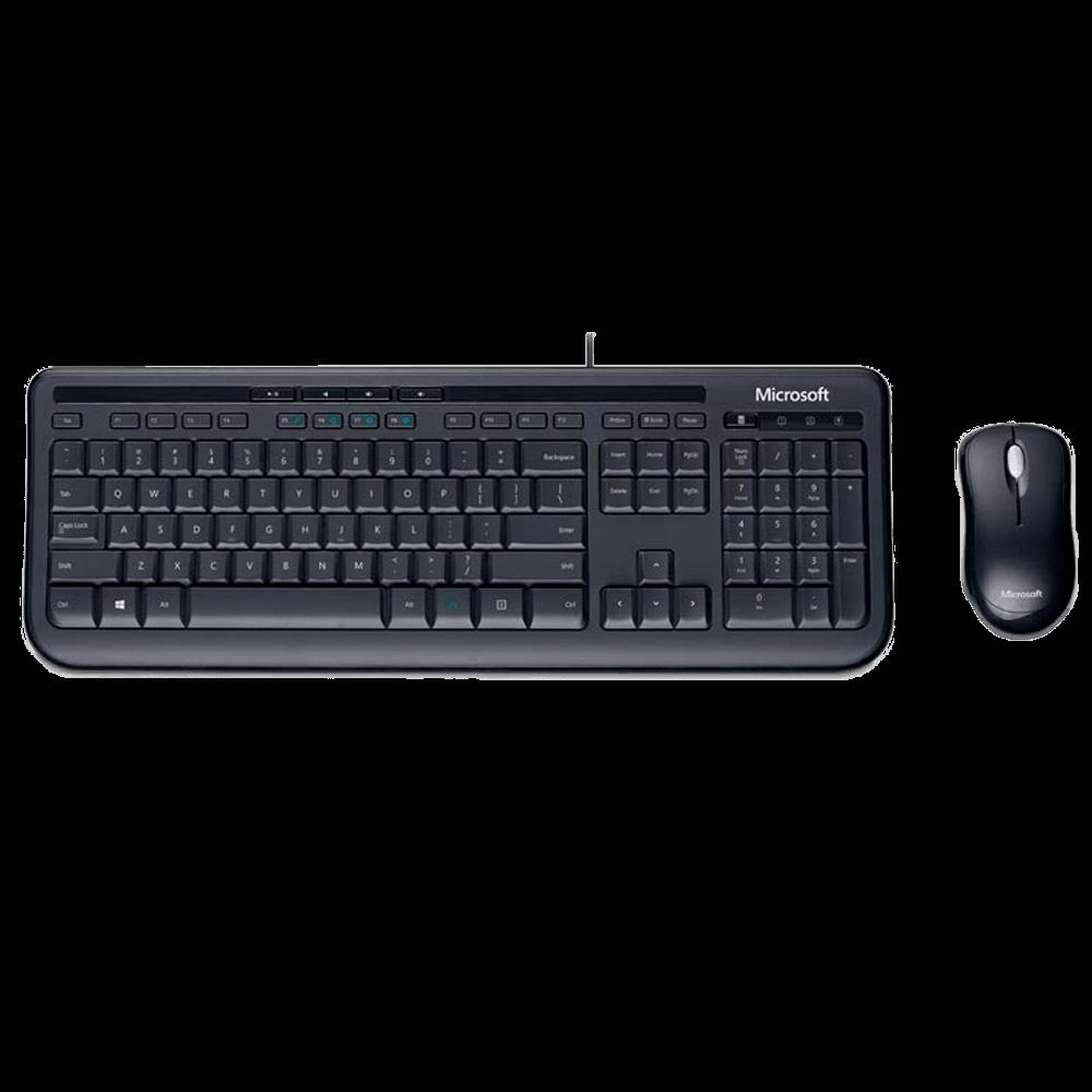 Teclado Microsoft Multimídia + Mouse Basic Óptico Wired Desktop 600 Black - APB-00005