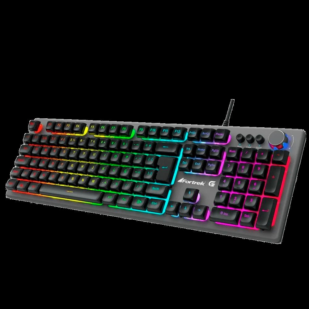 Teclado Gamer Semi-Mecânico RGB Rainbow HOLT Grafite -  FORTREK