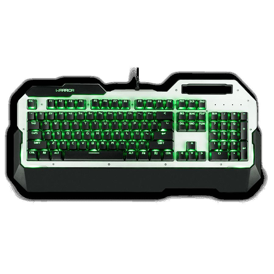 Teclado Mecânico Gamer Warrior LED Verde, Switch Blue, US, Branco - TC217