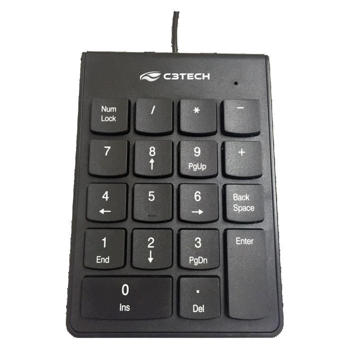 Teclado Numérico C3 Tech USB Preto - KN-10BK