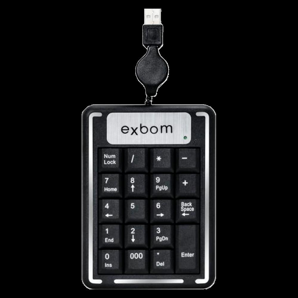 Teclado Numerico Exbom USB Cabo Retratil BK-Nn20 Preto