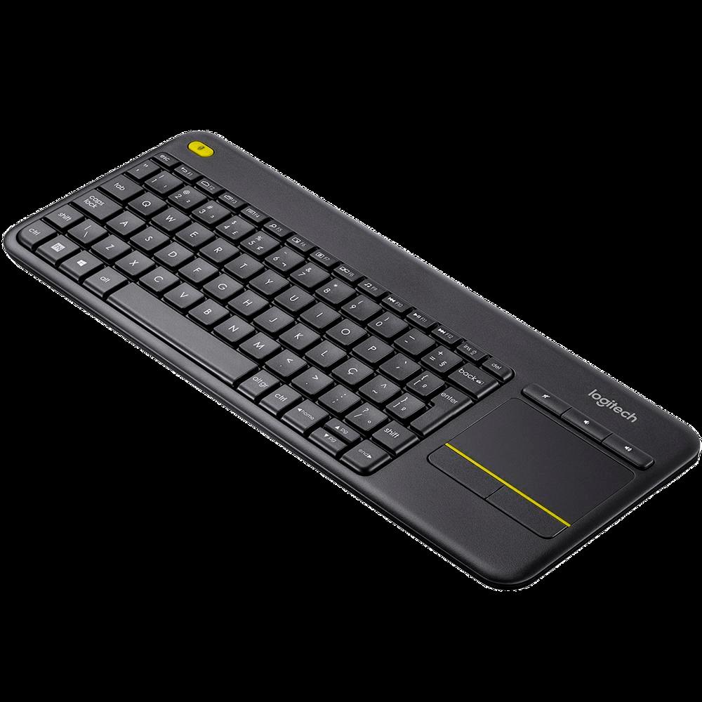 Teclado Logitech K400 Plus Sem Fio Para Smart TV Touchpad Multimídia Tecnologia Unifying Cinza ABNT2 - 920-007125