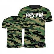 Camisa Camiseta Muay Thai Camuflado Selva - Verde