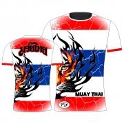 Camisa Camiseta Muay Thai Thailand Tiger - Branca