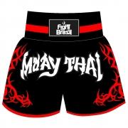 Short Calção Muay Thai New Tribal - Fb-1841 - Pre/Verm