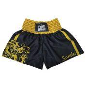 Short Calção Boxe Chinês Dragon Sanda - Pre/Amar - Unid