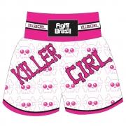 Short Calção Kick Boxing Muay Thai - New Killer Girl - Branco