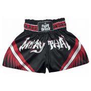 Short Calção Muay Thai - Athrox - Pre/Verm - Unid