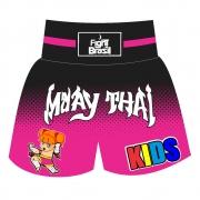Short Calção Muay Thai New Kids Girls - Infantil - Rosa