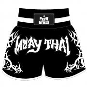 Short Calção Muay Thai New Tribal - Fb-1841 - Pre/Branco