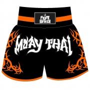 Short Calção Muay Thai New Tribal - Fb-1841 - Pre/Laranja