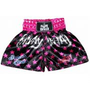 Short Calção Muay Thai Super Girls - Infantil - Preto