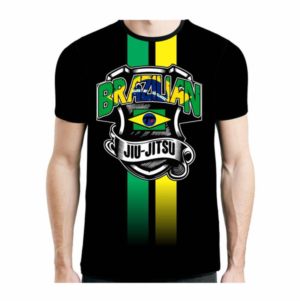 Camisa Camiseta Brazilian Jiu Jitsu - Flag - Preta