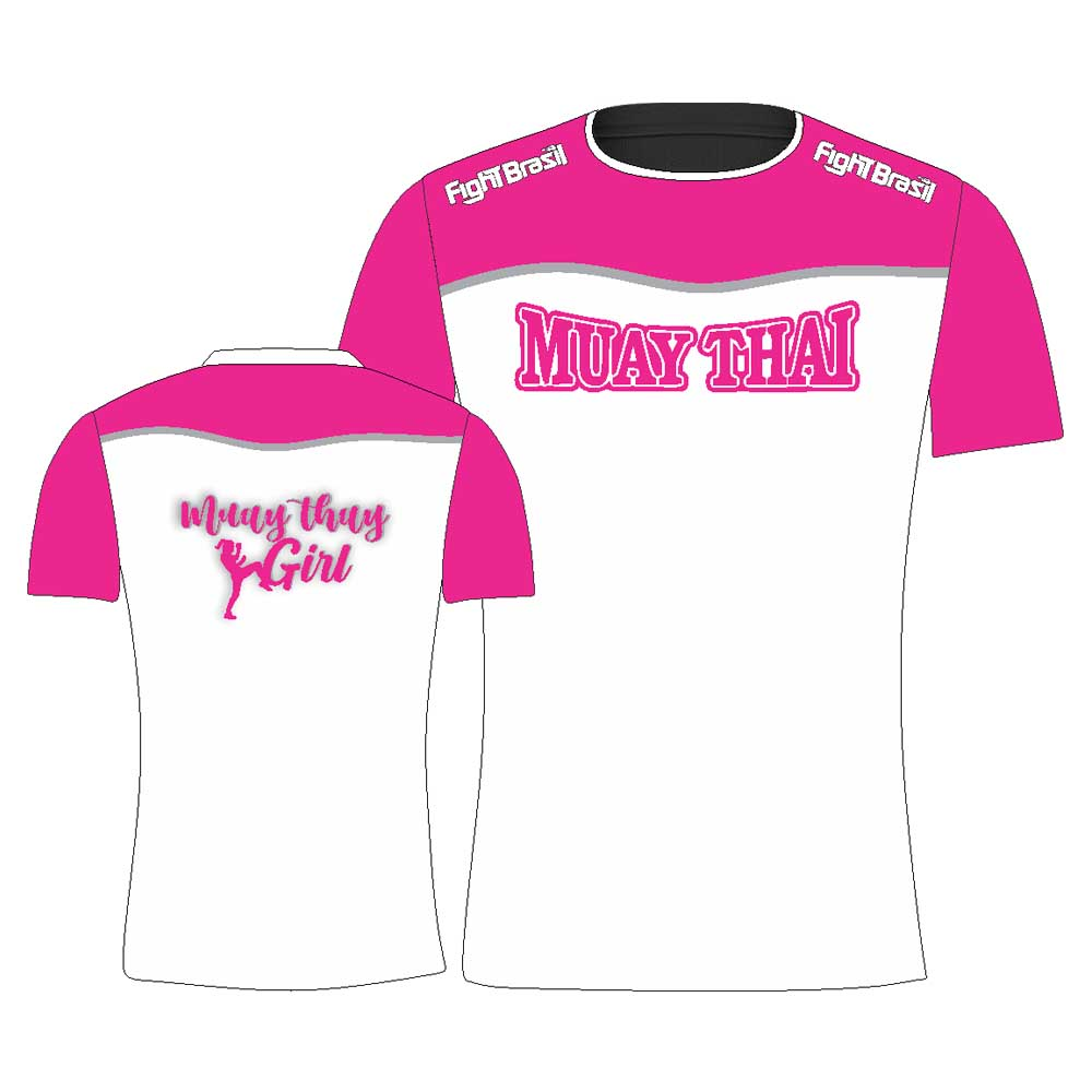 Camisa Camiseta Muay Thai Girl - Feminina - Branca/Rosa
