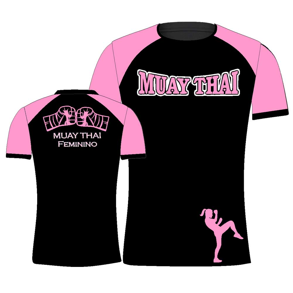 Camisa Camiseta Muay Thai Punch Girl - Feminina - Preto/Rosa