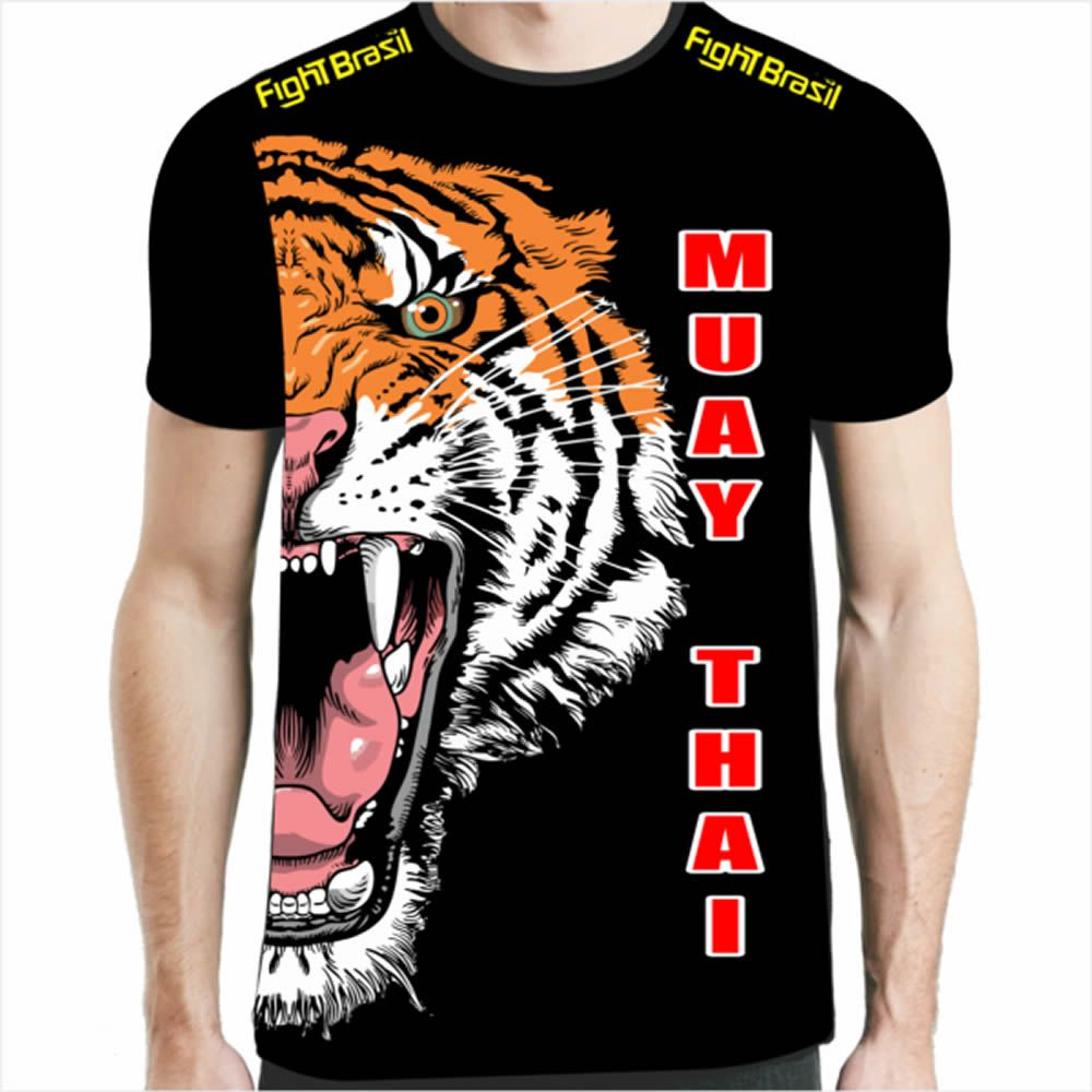 Camisa Camiseta Muay Thai - Tiger Elite One - Preta