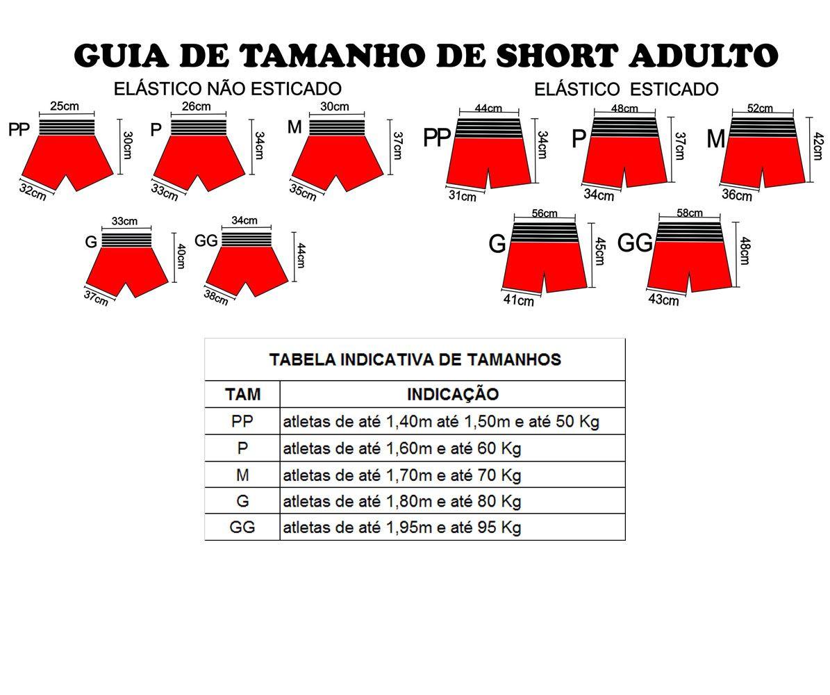 Short Calção Kick Boxing - Pre/Verm - Unid