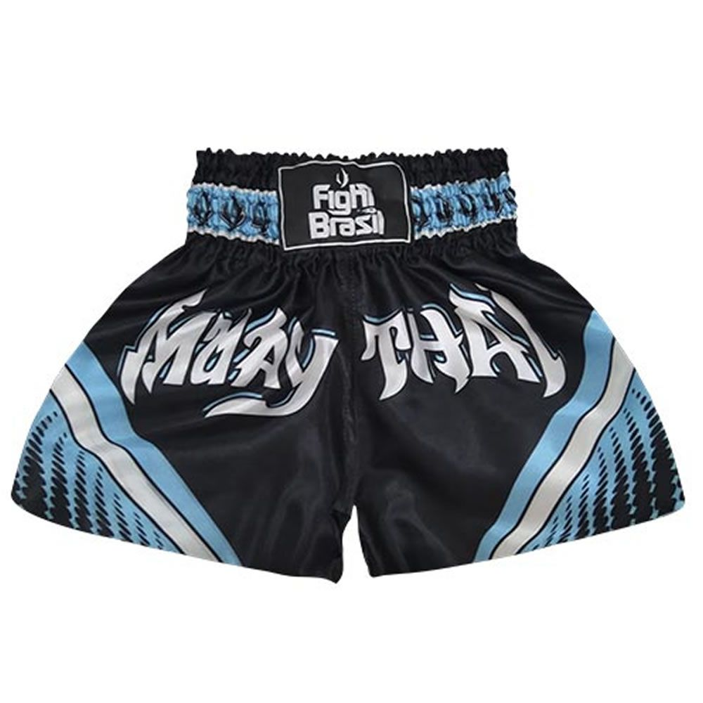 Short Calção Muay Thai - Athrox - Pre/Azul