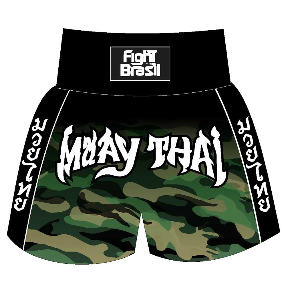 Short Calção Muay Thai Camuflado Selva - Fb-3027 - Pre/Verde