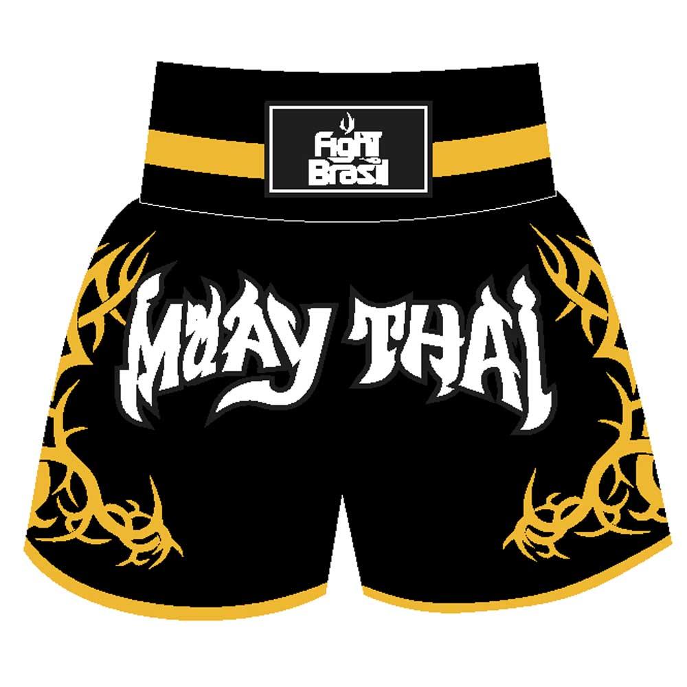 Short Calção Muay Thai New Tribal - Fb-1841 - Pre/Amar
