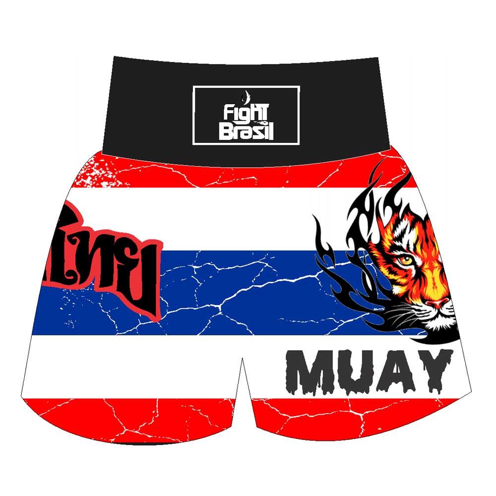 Short Calção Muay Thai Thailand Fury - Branco