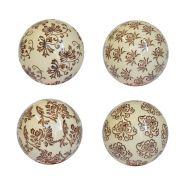 4 Bolas Decorativas de Porcelana Marrons e Beges 10 Cm