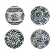 4 Bolas Decorativas de Porcelana Pretas e Brancas 10 Cm